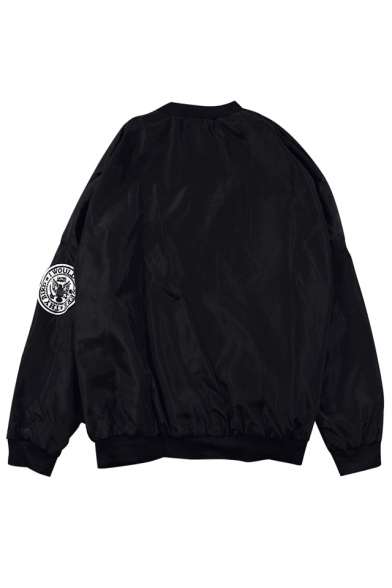 Chic Embroidery Letter Pattern Stand-Up Collar Long Sleeve Jacket