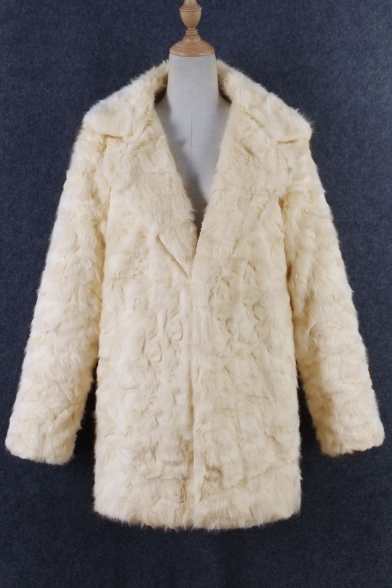 Chic Plain Faux Fur Long Sleeve Notched Lapel Tunic Coat