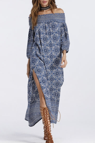Chic Floral Print Off the Shoulder Long Sleeve Maxi Dress
