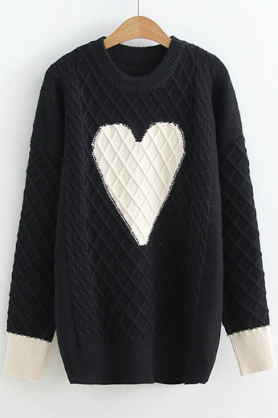 Color Block Heart Pattern Long Sleeve Pullover Sweater