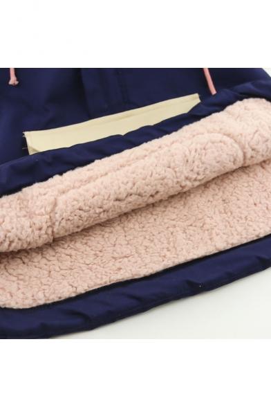 Color Block Hooded Zip Placket Long Sleeve Warm Coat