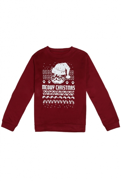 Sleeve Cat Long Letter Christmas Fashion Pullover Sweatshirt Print 1XwqZnU4