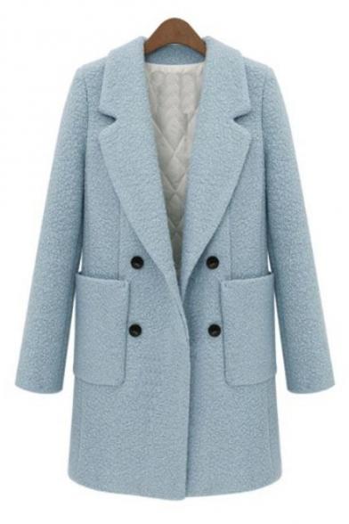 Fashion Double Breasted Notched Lapel Long Sleeve Plain Tunic Coat