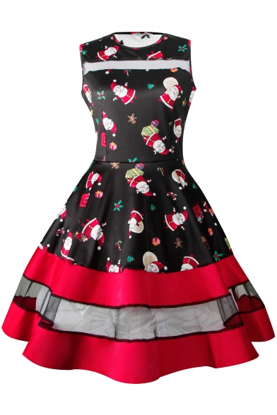 Fashion Round Neck Santa Claus Print Mesh Panel Gathered Waist Fit & Flare Dress