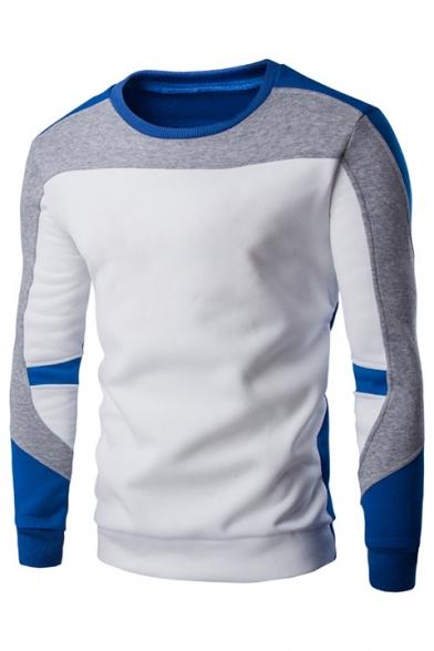Sweatshirt Men's Long Contrast Round Color Block Sleeve Neck Patchwork wqS4AOSZ