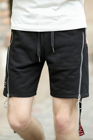 New Drawstring Waist Zippers Side Runner Shorts with Double Pockets