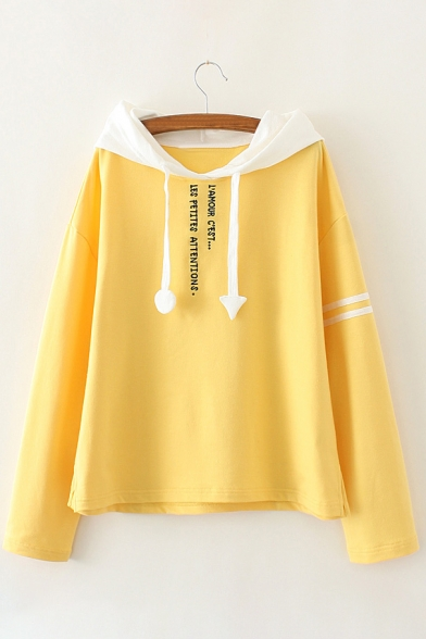 Block Embroidered Color Long Hoodie Sleeve Letter Fashion New IwE85X