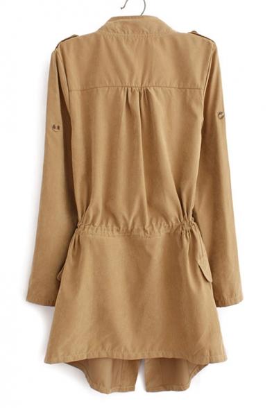 New Fashion Simple Plain Notch Lapel Drwawstring Waist Long Sleeve Trench Coat
