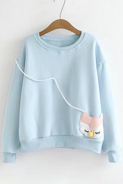 Neck Pullover Cartoon Stylish Long New Sleeve Sweatshirt Round Patchwork ITx0RqzR