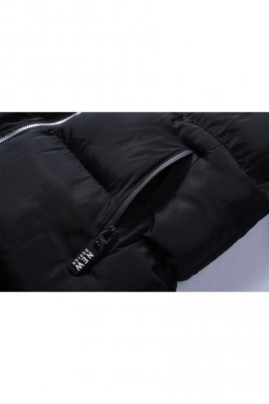 Coat Sleeve Long Stylish New Tunic Unisex Padded Letter Print Zipper wIIzx1vUq