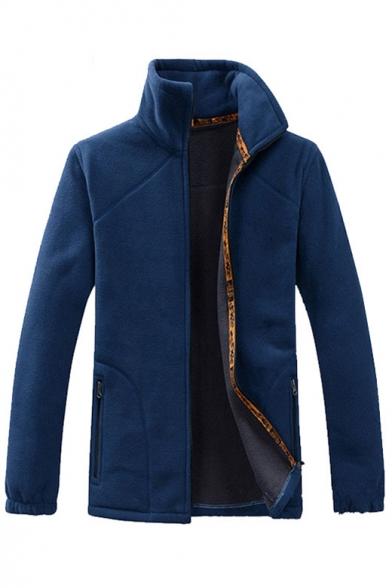 New Stylish Long Sleeve Simple Plain Zipper Coat, LC454075, Blue;green;gray