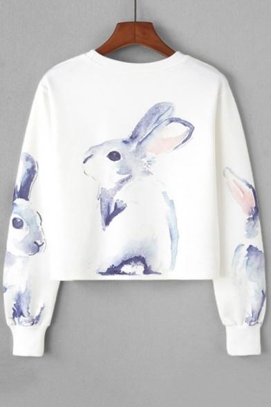 Long Sleeve Pullover Neck Rabbit Sweatshirt New Round Cropped Print Stylish RFXwxqcvY