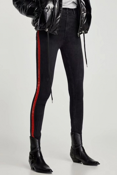 New Stylish Striped Side Zip Fly Skinny Jeans