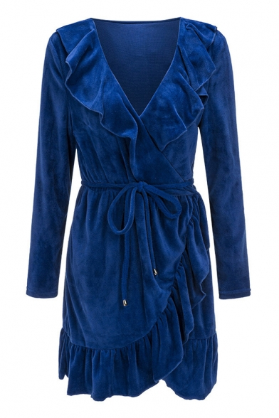 Sexy Long Sleeve Tie Waist Ruffle Hem Wrap Dress