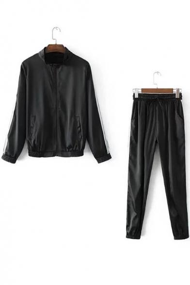 Zip Up Striped Side Long Sleeve Baseball Coat with Drawstring Waist Pants