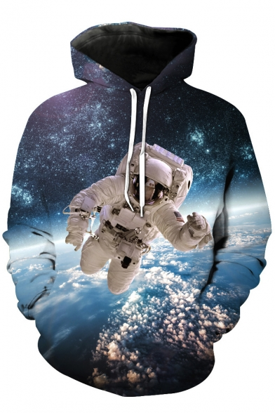 Long Galaxy Space Hoodie with Pullover Astronaut Printed Pocket Sleeve vSH7xw5tq