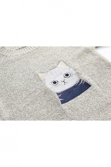 Sleeve Cat Cartoon Round Neck Pullover Long Sweater Embroidered 6Xxx7pw