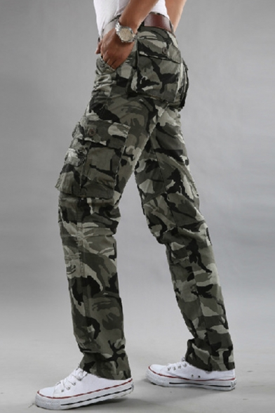 Chic Belted Loose Camo Pants with Pockets