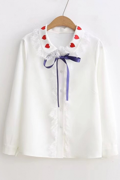 Chic Heart Embroidered Lapel Lace Tassel Hem Long Sleeve Buttons Down Shirt