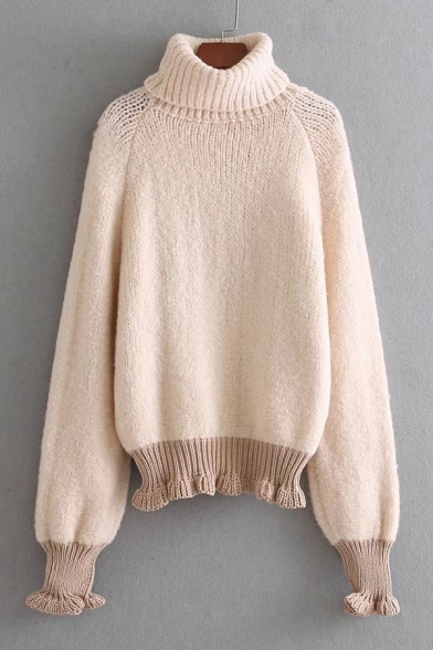 Baycheer / Chic Simple Contrast Hem Turtleneck Long Sleeve Pullover Sweater