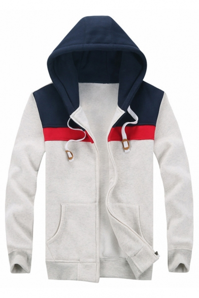 Leisure Hoodie New Zippered Sleeve Color Long Panel Block Arrival vRqx51RT