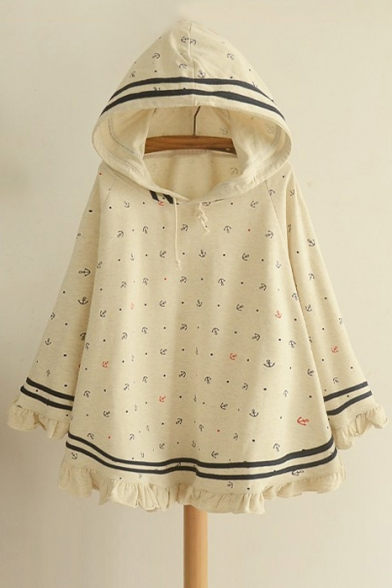 Sleeve Cartoon Print Fashion Long with Cape Striped Hood New qTfSXw7X