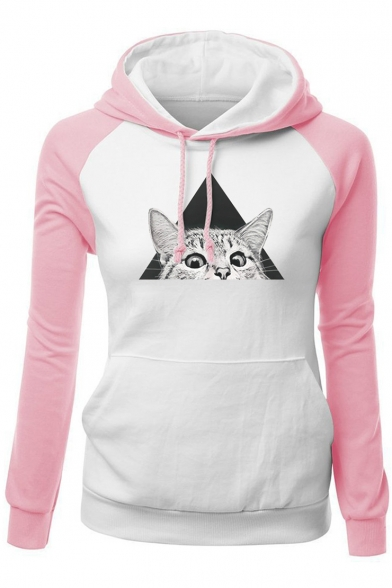 New Fashion Color Block Cartoon Cat Print Long Sleeve Hoodie