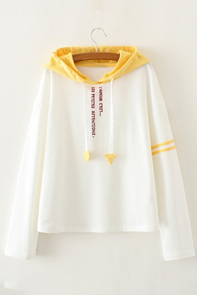 Long New Hoodie Fashion Embroidered Sleeve Letter Color Block nPSPzqXO