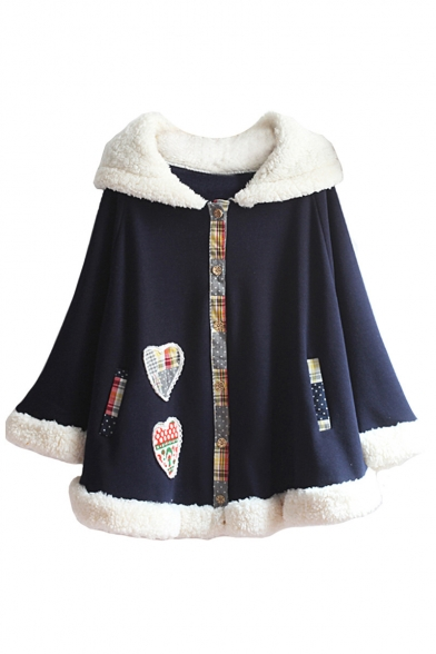 New Fashion Heart Patchwork Contrast Cuff Hooded Long Sleeve Cape Coat