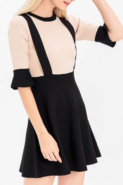 New Fashion Simple Color Block Round Neck Half Sleeve A-Line Mini Dress