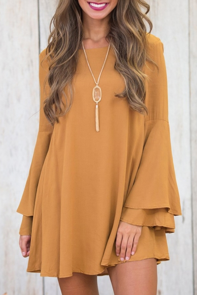 New Fashion Simple Plain Round Neck Long Sleeve Shift Mini Dress