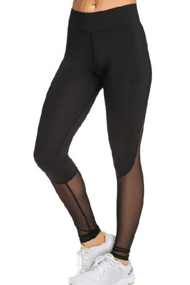 99b81a57715 New Fashion Simple Plain Sheer Mesh Panel Elastic Waist Sports Leggings