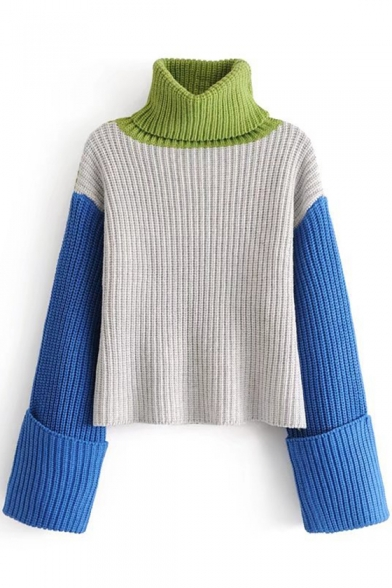 Stylish Long Block Sleeve Pullover New Sweater Color Turtleneck Print dwxBEXqYX