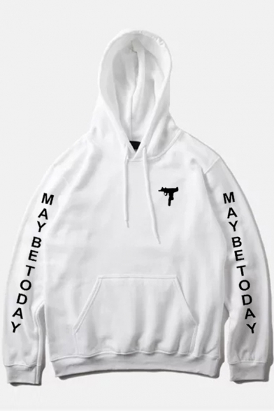 Print Sleeve New Hoodie Long Hood Gun Drawstring Letter Stylish Ht7tZB