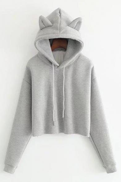 50a89b267eefc New Stylish Long Sleeve Simple Plain Cropped Hoodie with Cat s Ear Hood