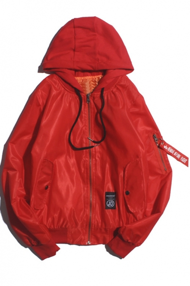 New Stylish Print Long Sleeve Zipper Drawstring Hood Bomber Jacket