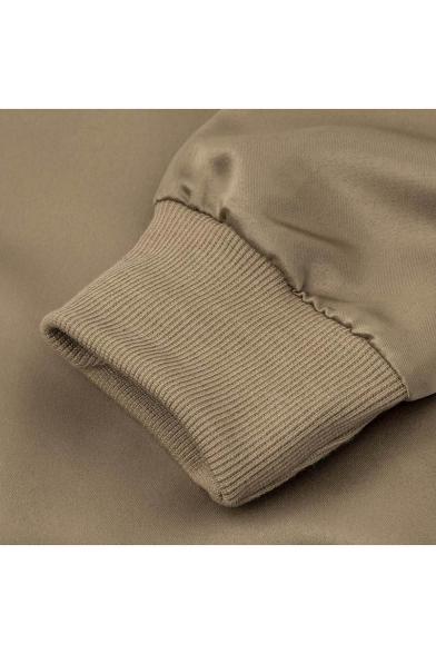 New Stylish Stand-Up Collar Long Sleeve Simple Plain Zipper jacket
