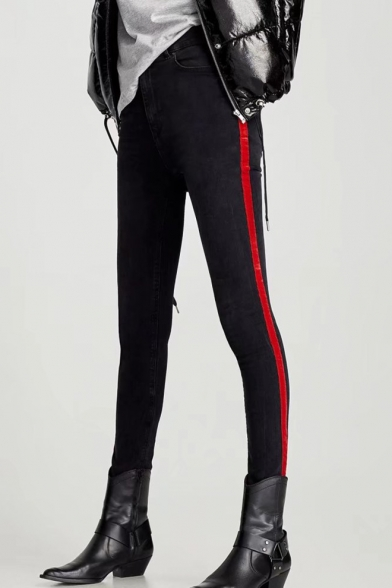 New Stylish Striped Side Zip Fly Skinny Jeans