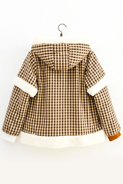 Rabbit Gingham Double-Breasted Layered Sleeve Faux Fur Trimmed & Padded Hooded Zippered Coat with Bow