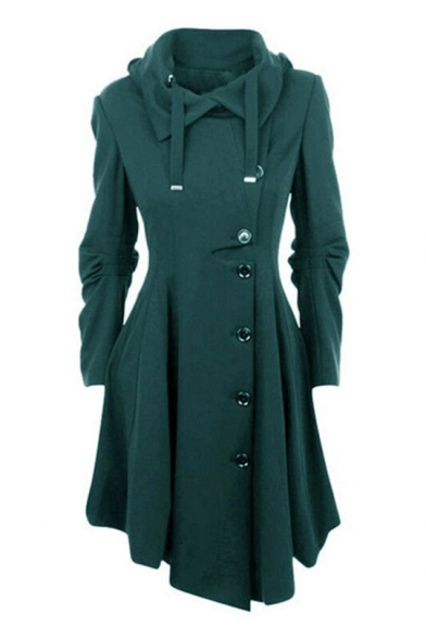 Long Midi down Flared Down Asymmetric Stylish Coat Notched Collar Hem Sleeves Turn Button Placket qxEnf7F