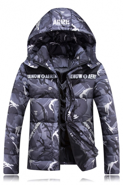 Camouflaged Letter Pattern Long Sleeves Hooded Zippered Quilted Jacket with Pockets