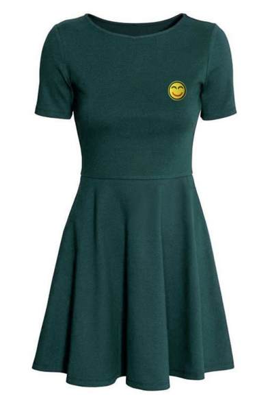 Casual Round Neck Short Sleeves Smiley Face Pattern A-line T-shirt Mini Dress