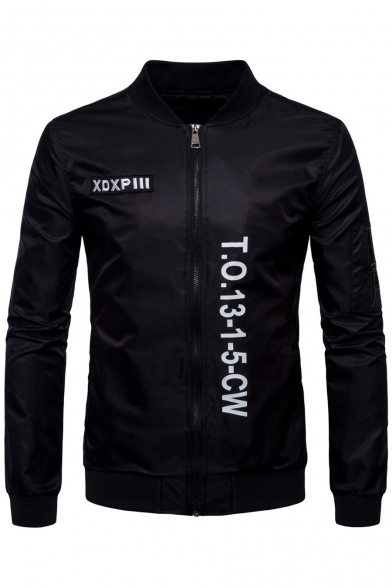 Casual Stand-up Collar Long Sleeves Letter Pattern Embroidery Zippered Bomber Jacket
