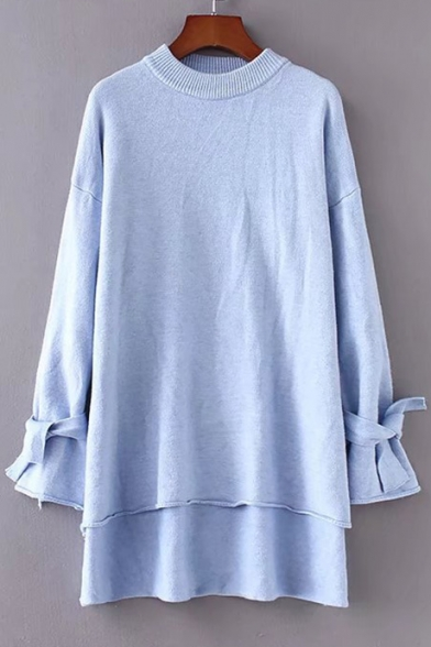 Long Chic Sleeve Sweater Round Low High Plain Tie Hem Pullover Simple Neck 5qprqHxPn