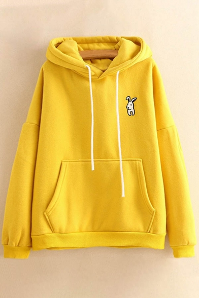 Cartoon New Fashion Long Hoodie Embroidered Sleeve Rabbit rr5wpqS