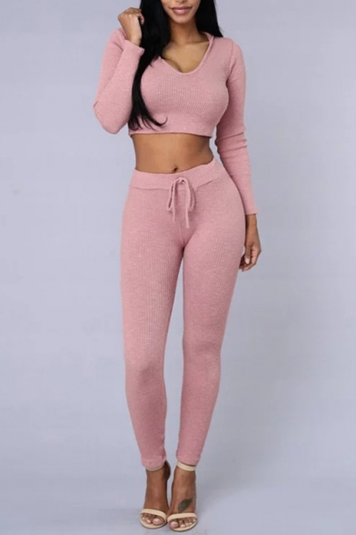 New Fashion Simple Plain Long Sleeve Cropped Hoodie Co-ords
