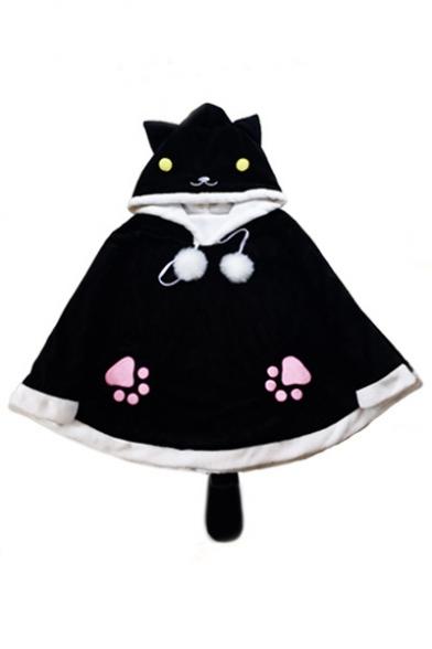 New Stylish Cartoon Cat Print Pompom Embellished Poncho with Tail