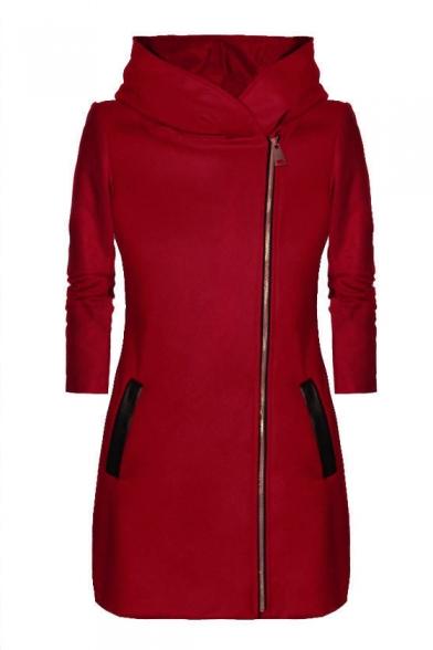 New Stylish Contrast Zipper Long Sleeve Hooded Tunic Coat
