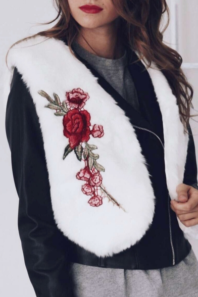 New Stylish Embroidery Floral Pattern Open Front Faux Fur Vest Coat