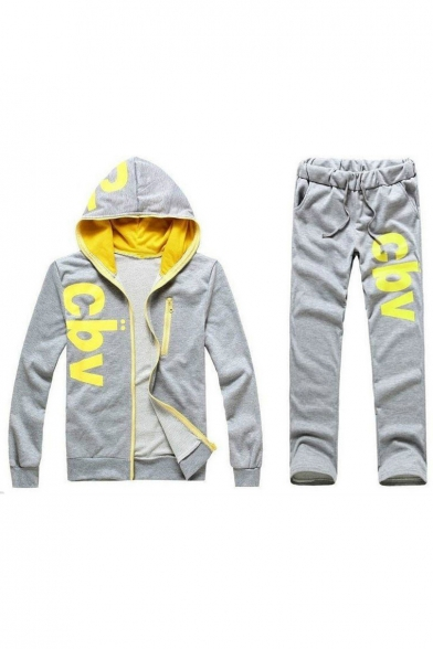 New Stylish Letter Print Long Sleeve Zipper Hoodie Leisure Co-ords